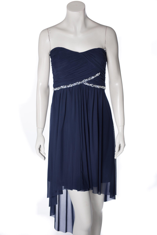 Kleid - Vorne kurz, hinten lang - Chiffon - dunkelblau