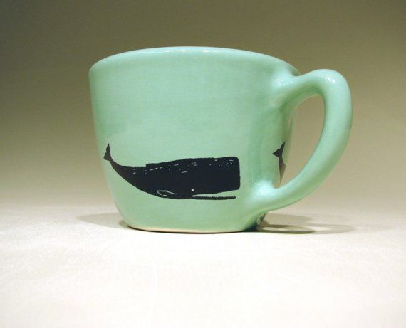 Made to Order  12oz cup whale blue green/white by CircaCeramics