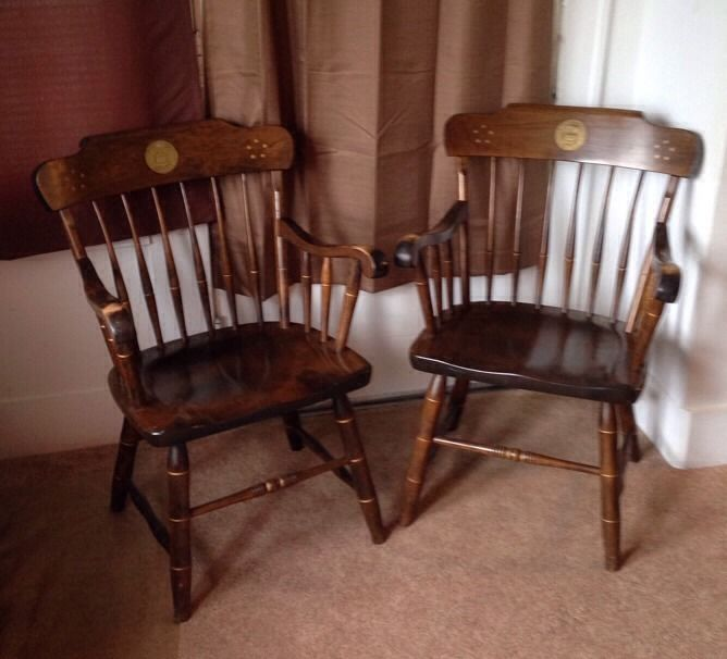 Two Vintage S. BENT U0026 BROS COLONIAL Chairs Bicentennial Collection Mass