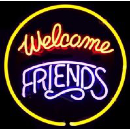 Model Welcome Friends Neon Signs Neon Bar Signs Custom Neon Signs