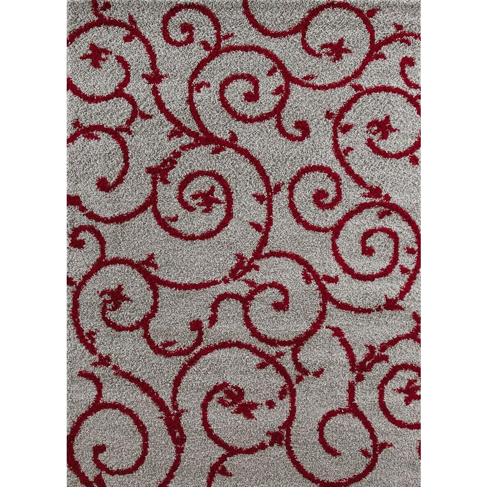 World Rug Gallery Soft Cozy Contemporary Scroll Red Gray 3 Ft 3