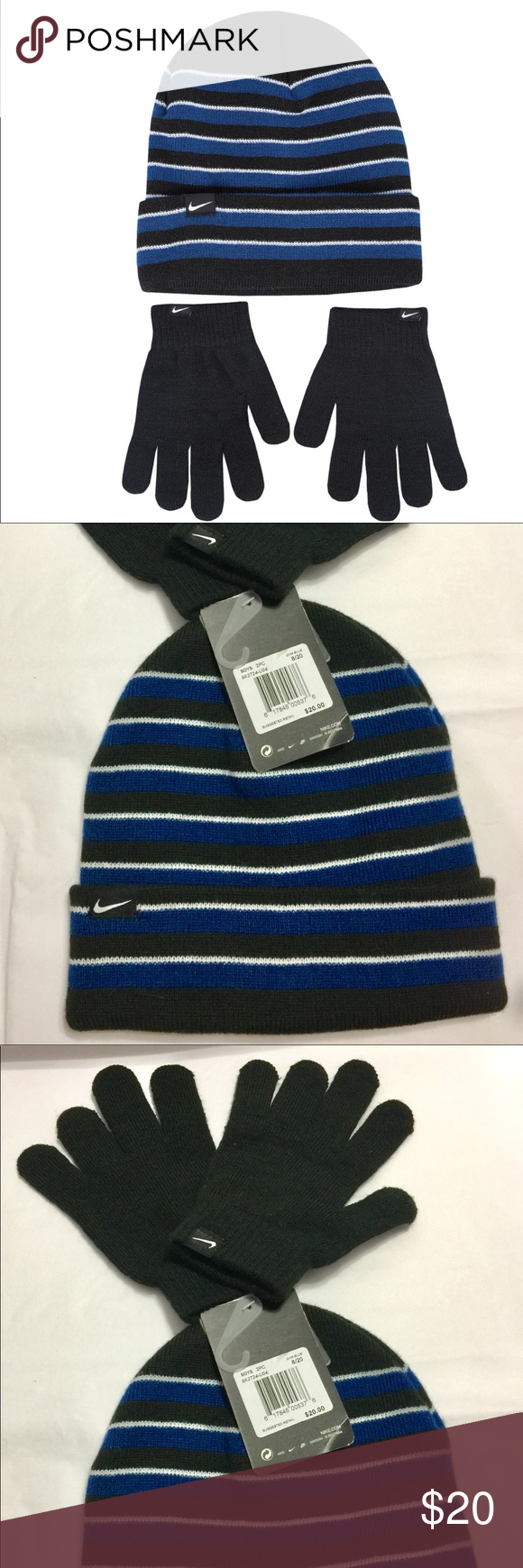 Boys Nike Beenie Gloves Hat Royal Black This is for Youth Boys 2 pc Nike  Beenie   Matching Gloves. Size Youth 8 20 Brand New with tags Knit Cap is  Royal 5d2d39fac5fe