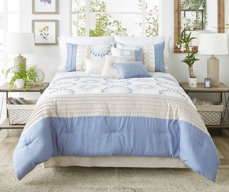 Taylor Blue  Linen Queen 8-Piece Comforter Set at Big Lots Dream