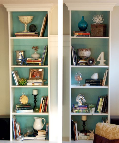 Painted & styled shelves (BM Wythe Blue)