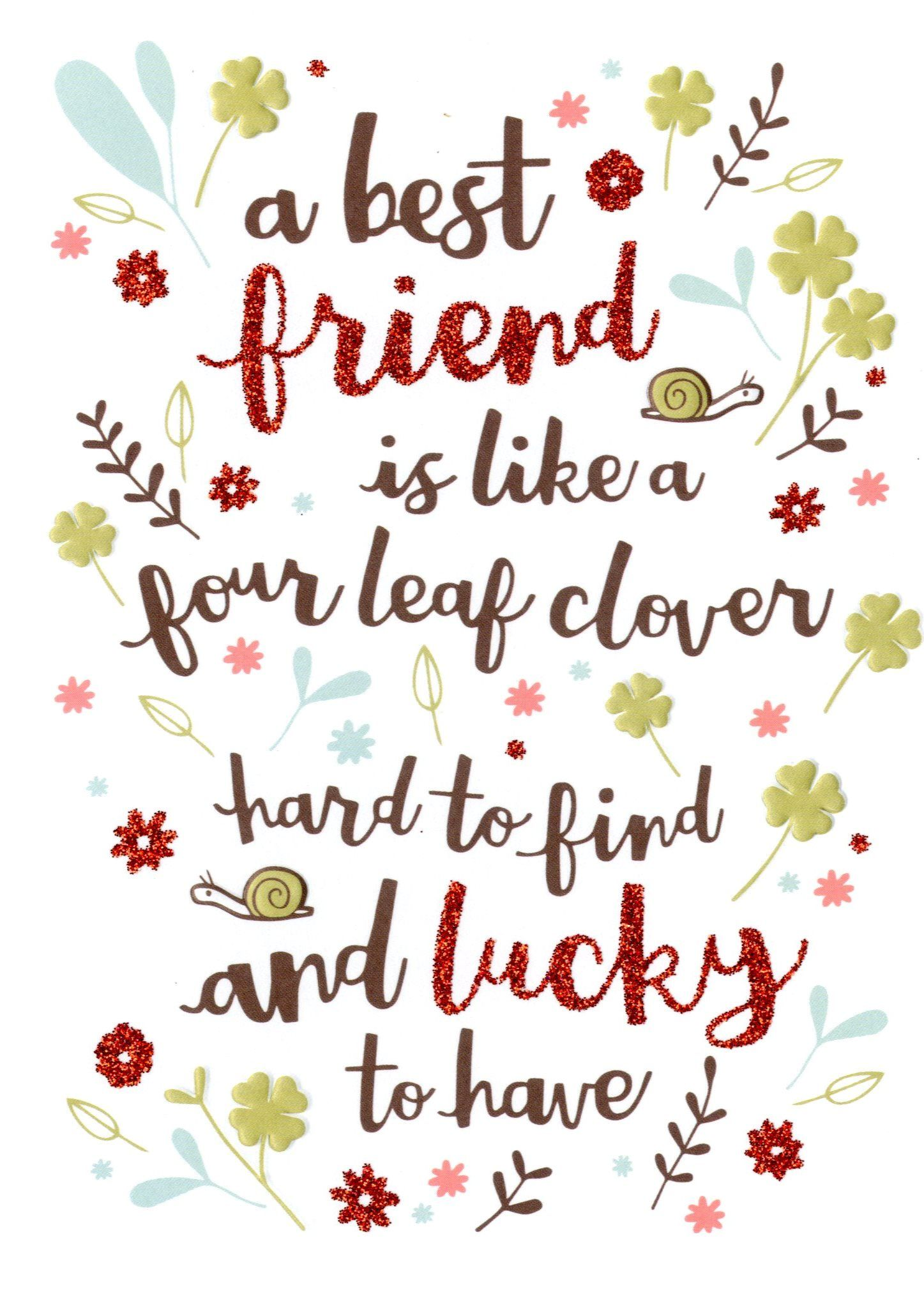 Best friend like four leaf clover birthday card best