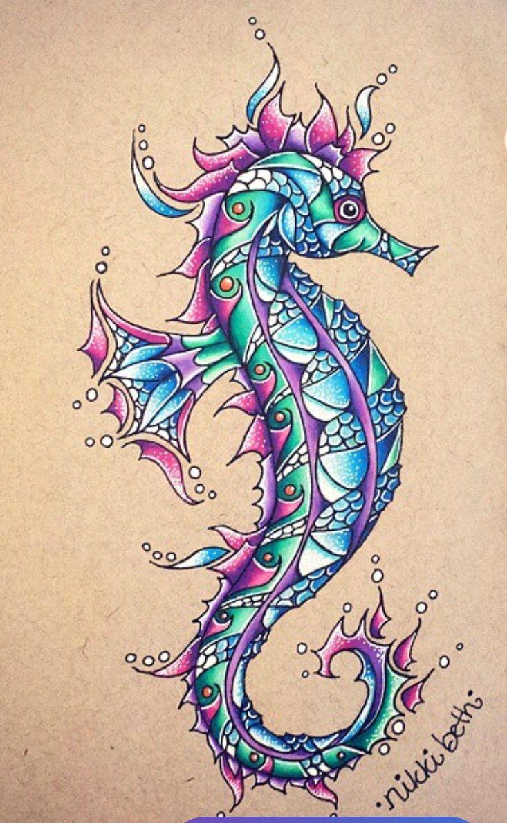 Seahorse 4 New School Tattoo
