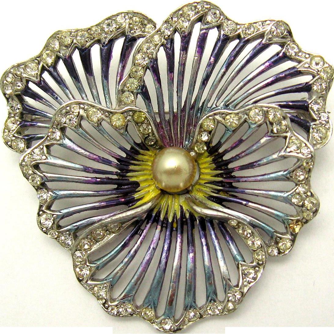 0ba78a765 BOUCHER 1950 Pansy Brooch Colorful Enamel Crystal Rhinestones ...