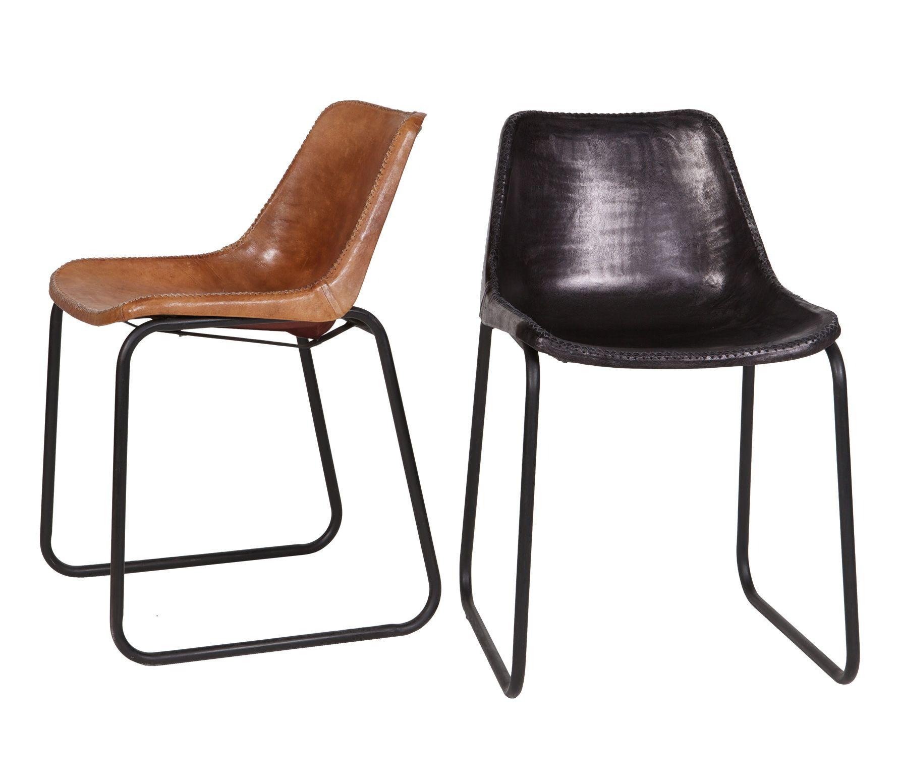 Voorbeeld van leren stoel stitch zwart eethoeken for Bruine leren stoel