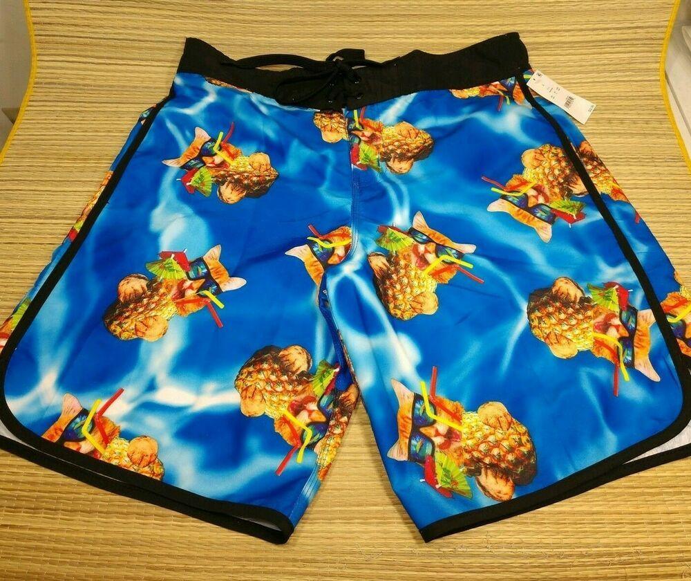 Bioworld Cat Pineapple Swim Trunks Blue Brief Lined Tropical Mens Shorts Bioworld Trunks Mens Swim Trunks Swim Trunks Trunks