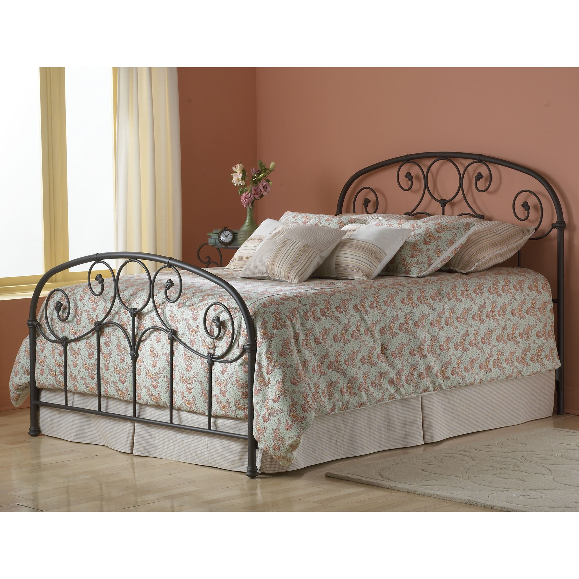 Fashion bed group grafton metal grey bed in rusty gold finish
