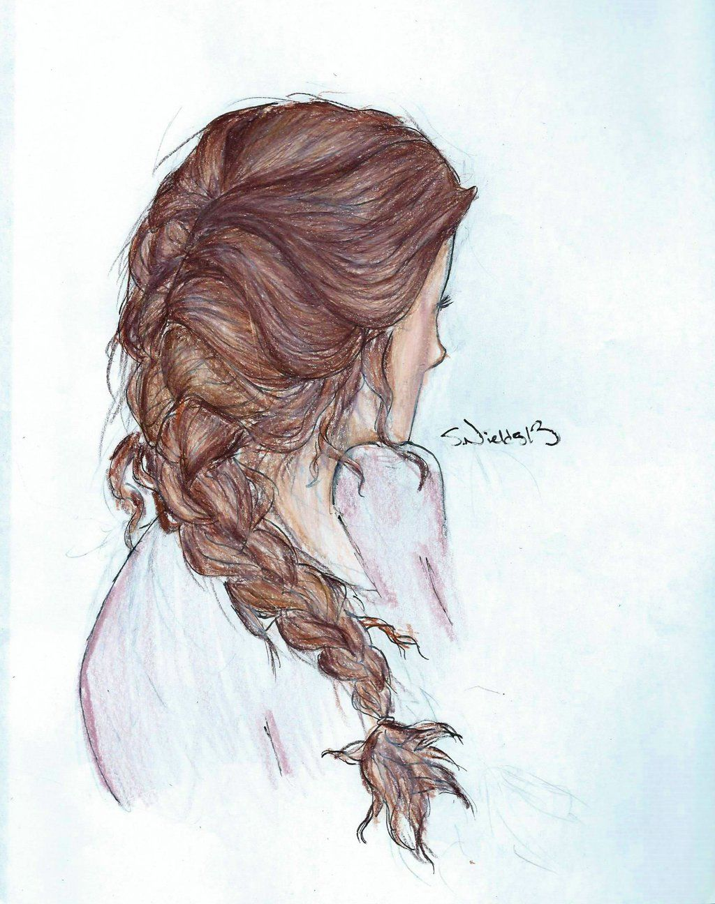 how to draw a side braid