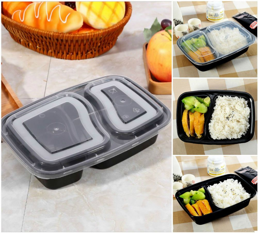 2 compartment meal prep food containers lids plastic lunch
