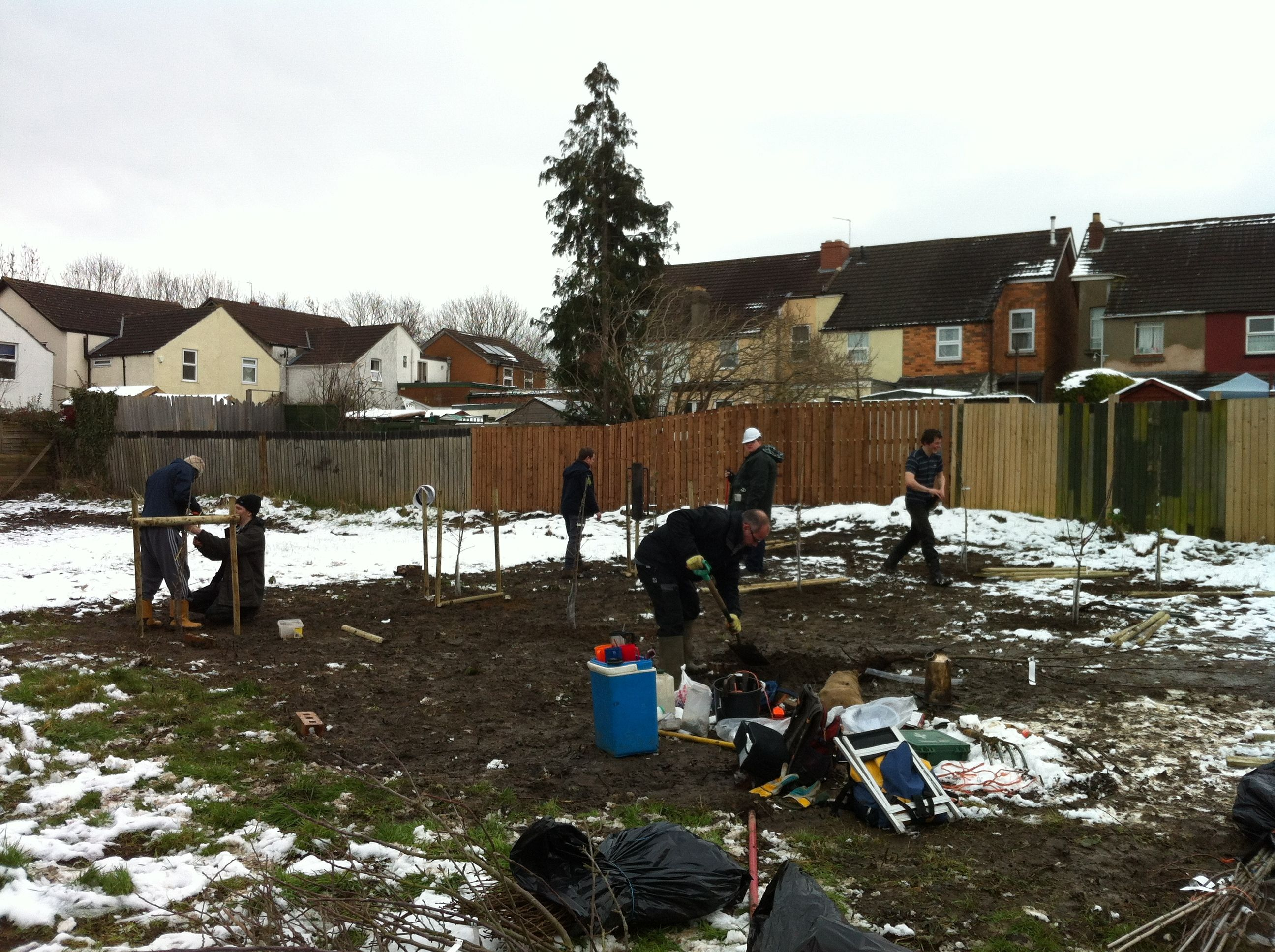 Proving that volunteers give their time in all weathers