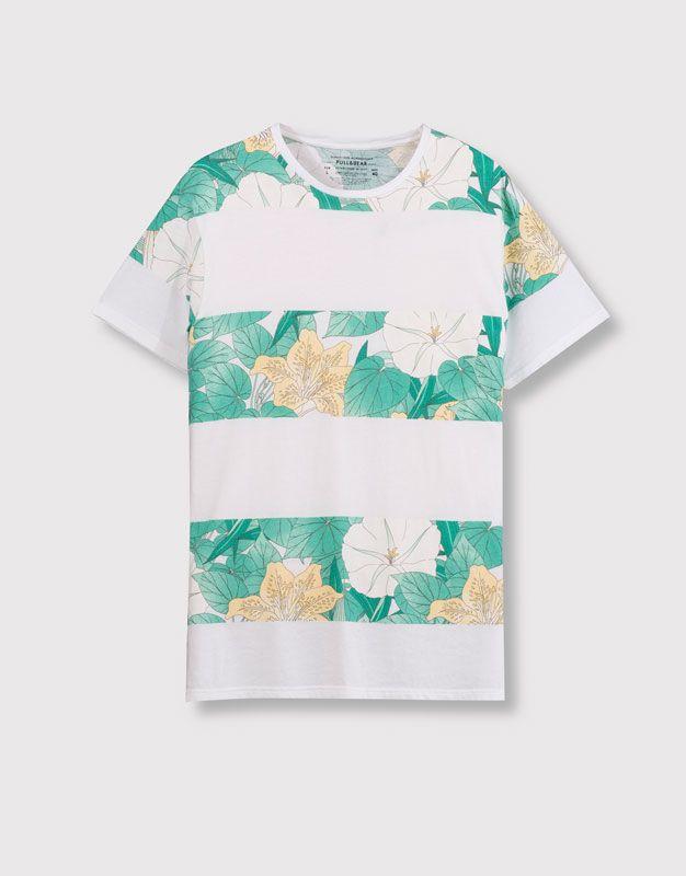5425743a9 Pull&Bear - hombre - camisetas - camiseta paneles estampados ...
