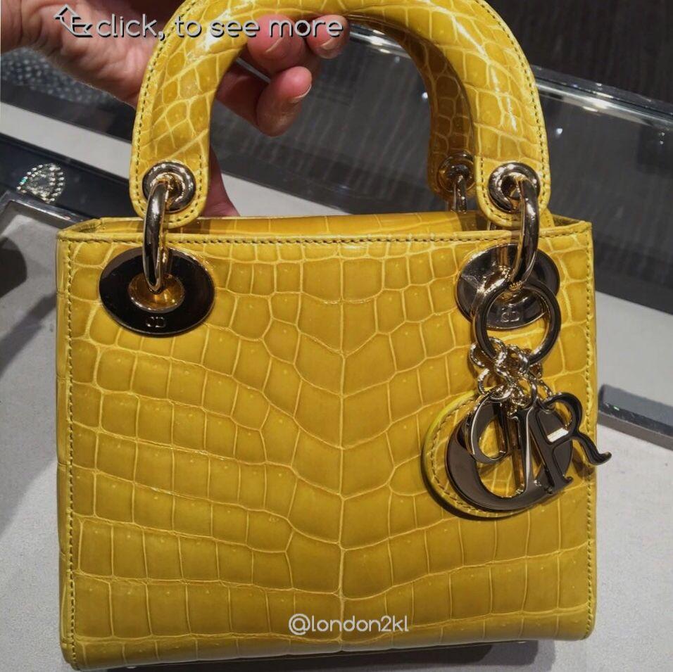 cc89eb32b51 Dior Mini Lady Dior in Yellow Crocodile RM57,000 | Bags in 2019