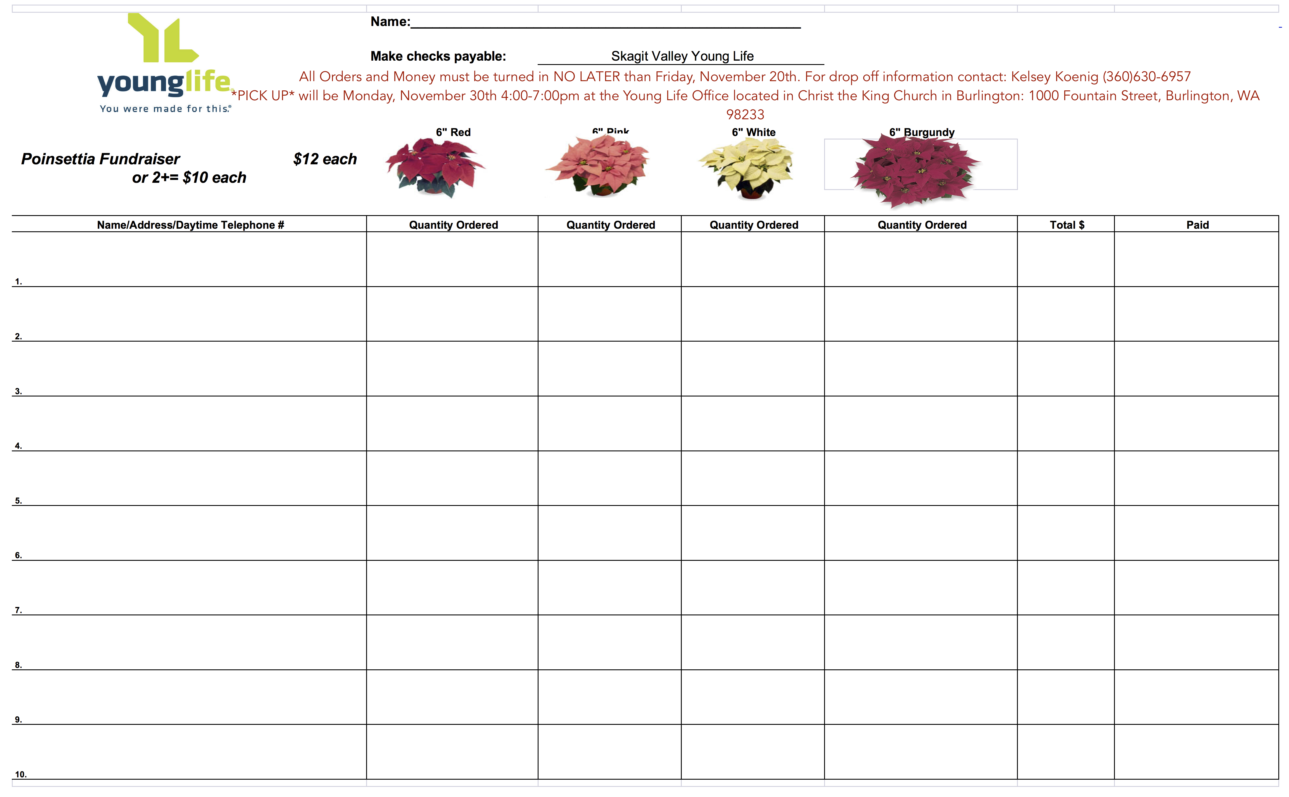 Poinsettia Fundraiser Order Form   Camp Payment Page  Pto