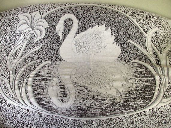 Vintage White Lace Swan Shower Curtain By CapeCodLaurieDesigns 4500