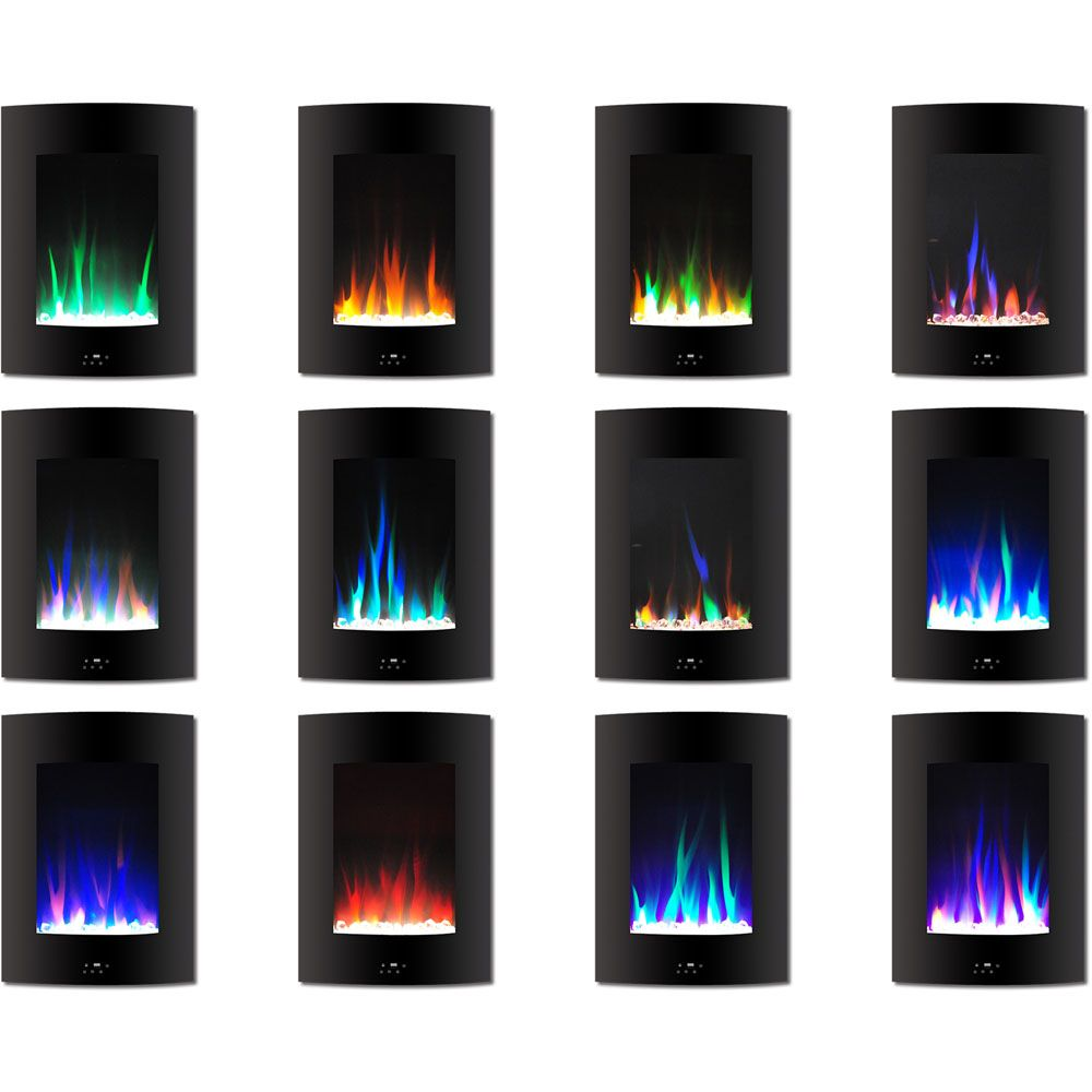 19 5 In Vertical Electric Fireplace In Black With Multi Color Flame
