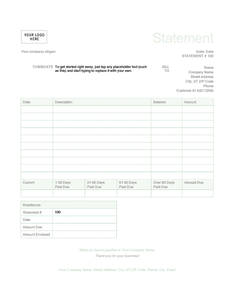 Billing Statement Green Design Statement Template Invoice Template Office Templates