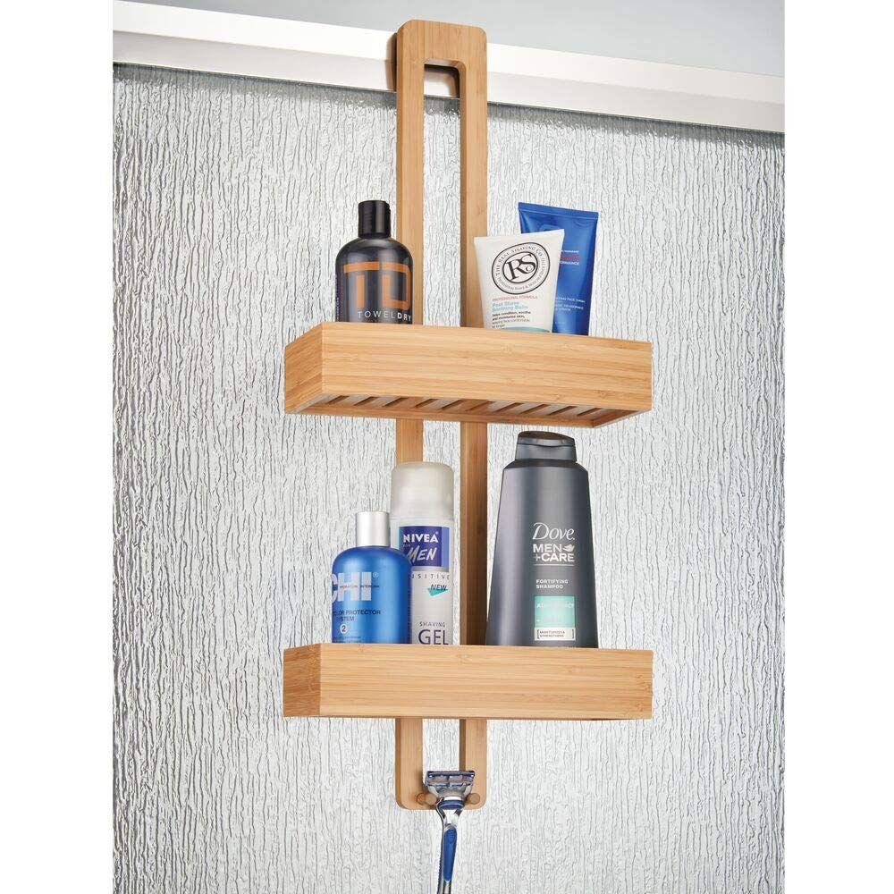 Mdesign Modern Bamboo Wood Over The Shower Door Bathroom Caddy Hanging Storage Organizer Center With Baskets On 2 L Bathroom Tub Shower Shower Caddy Shower Tub