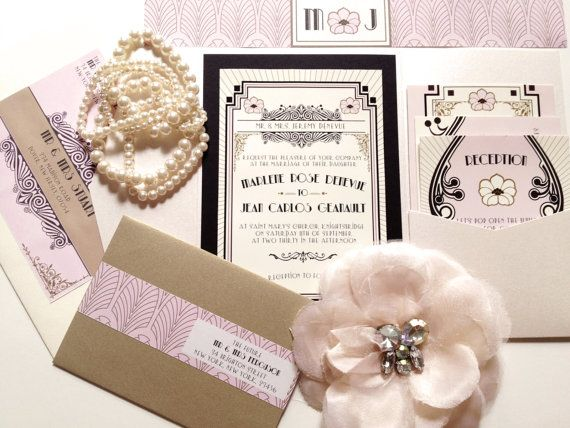 The Great Gatsby Art Deco Wedding Invitation Suite Deposit To Start Project