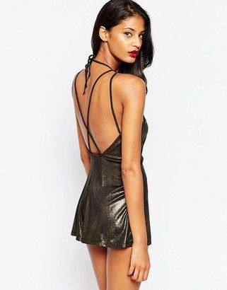 0a9d035c1e ASOS COLLECTION ASOS Lurex Romper with Sexy Strappy Back - Shop for women s  Romper - gold