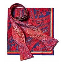 Bruno Piatelli Red, Black and Blue Bow Tie and Pocket Square Set