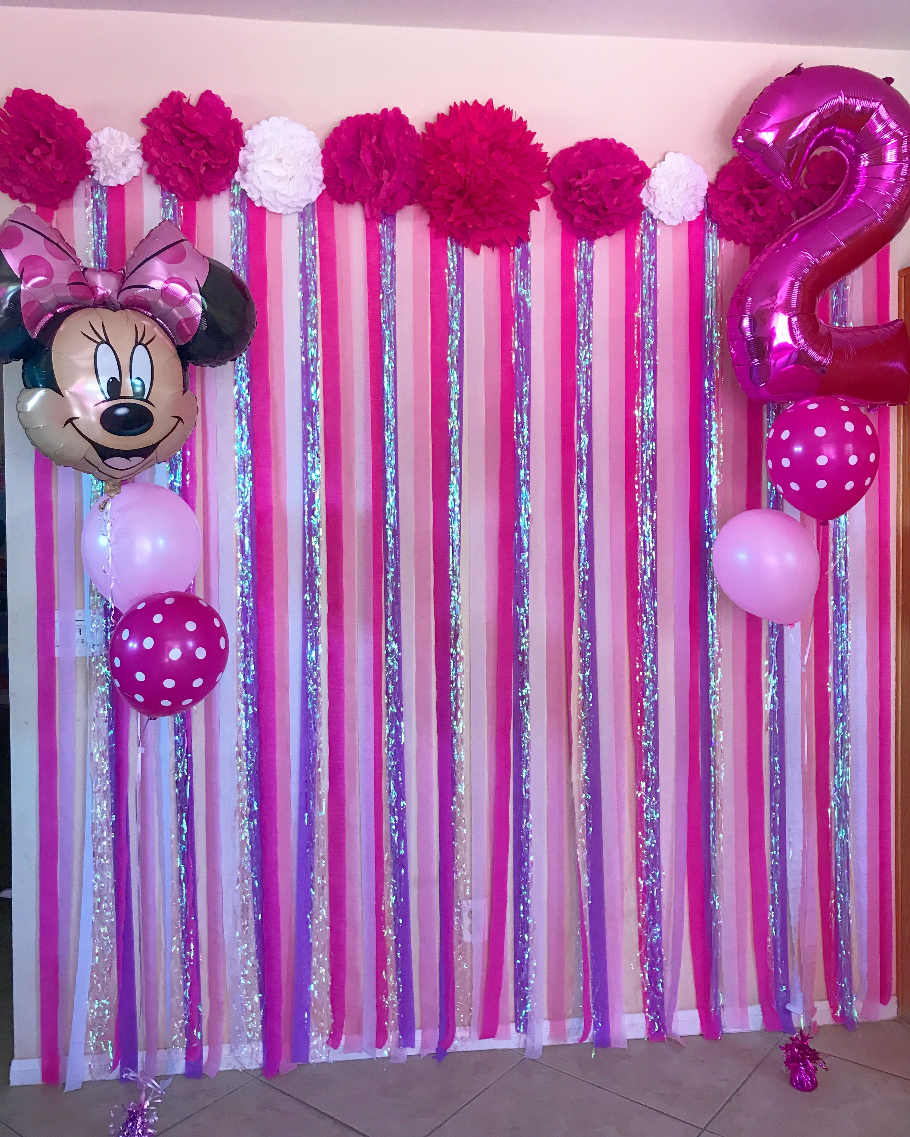 Diy Minnie Mouse Themed Photo Streamer Wall Minnie Mouse Birthday Party Decorations Minnie Mouse Theme Party Minnie Mouse First Birthday