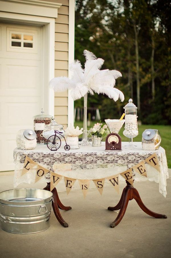 Vintage Backyard Wedding Table Party Planning Ideas Supplies Idea ...