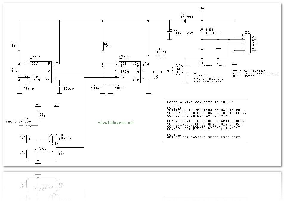 DC Motor Speed Controller Electronic Circuit Drivers for DC
