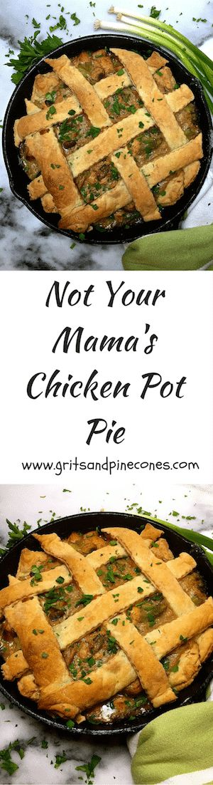 Not Your Mama's Chicken Pot Pie is a delicious mix of chicken, broccoli, and mushrooms covered with puff pastry.  via /http/://www.pinterest.com/gritspinecones/