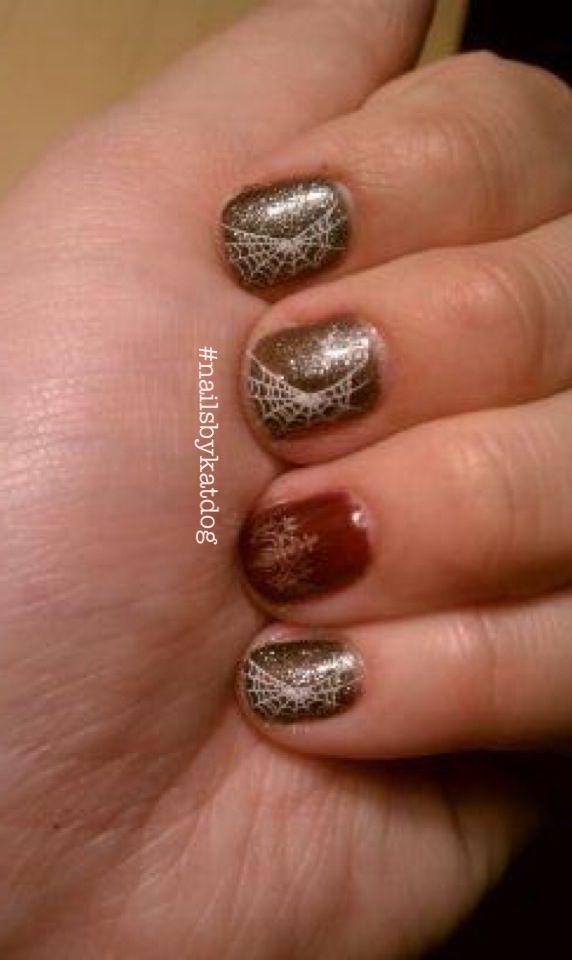 Spider web halloween nails. #nails #nailart #gelish # ...