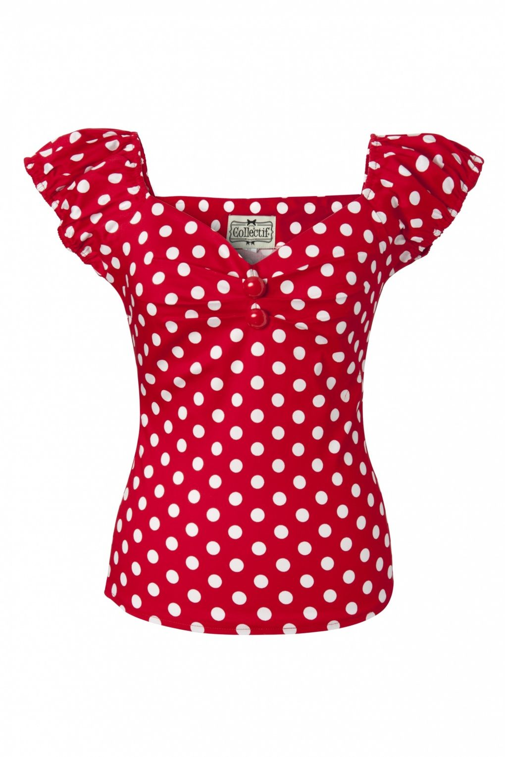 9bc5c62c06a9 Collectif Clothing - Dolores top Polka Red White