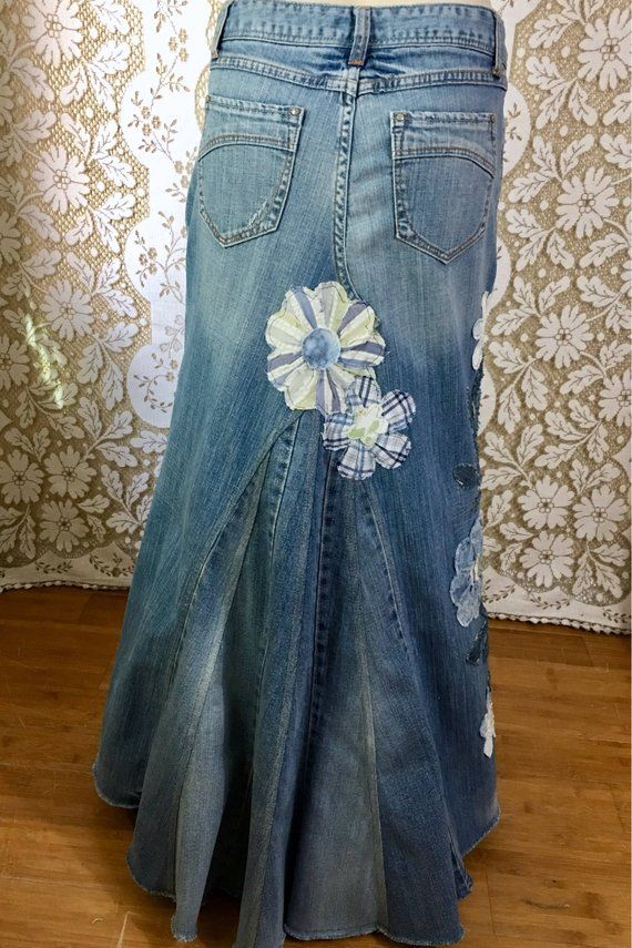Up-cycled Aeropostal jean maxi skirt embellished with trailing fabric flowers Size 3/4
