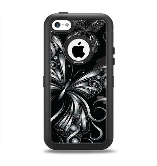 The Vibrant Black & Silver Butterfly Outline Apple iPhone 5c Otterbox Defender Case Skin Set
