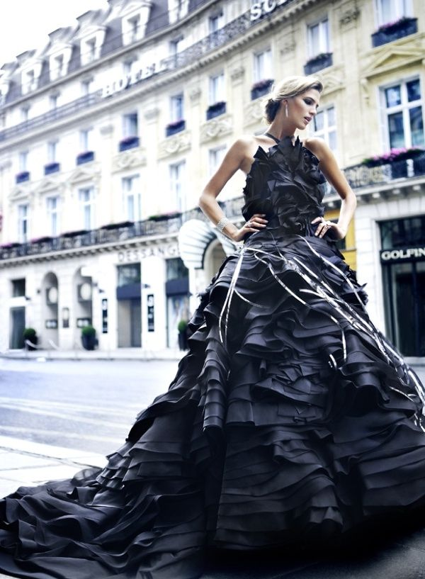 Totally glam elegance! Beautiful black layered ruffle gown ...