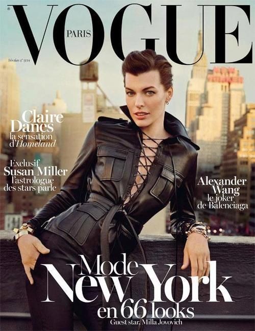 Milla Jovovich covers the February 2013 issue of Vogue Paris. Photographed by Inez & Vinoodh.