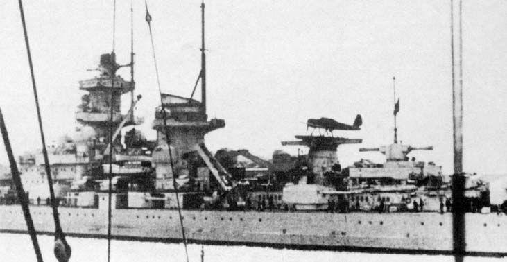 "The Gneisenau shortly after her return to Wilhelmshaven after Operation ""Nordmark""."