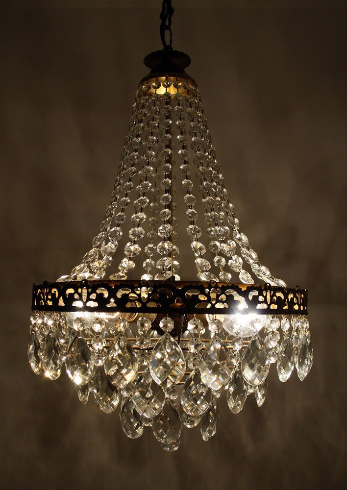 in Antiques, Architectural Antiques, Chandeliers - Antique / Vintage French Basket Style Brass & Crystals BOHEMIA