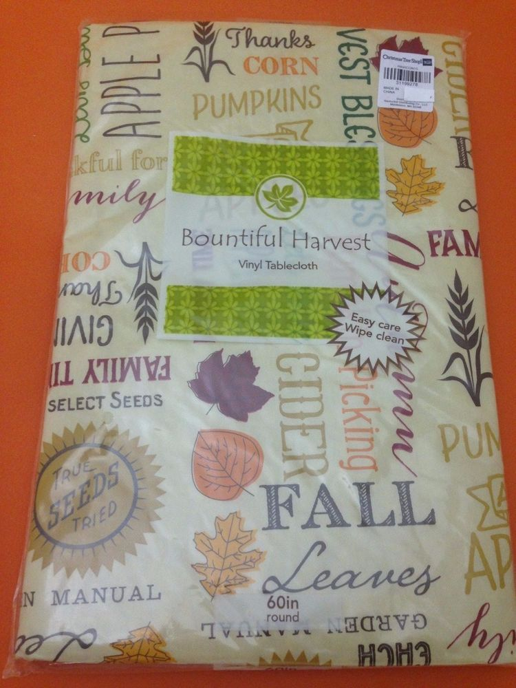 Autumn Fall Words And Sayings Vinyl Tablecloth Flannel