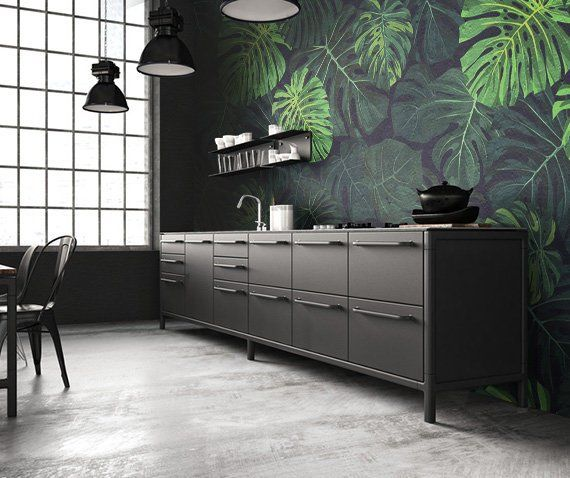 Tropical Wallpaper Pattern With Green Monstera Dark Etsy Tropical Wallpaper Dark Living Rooms Living Room Green