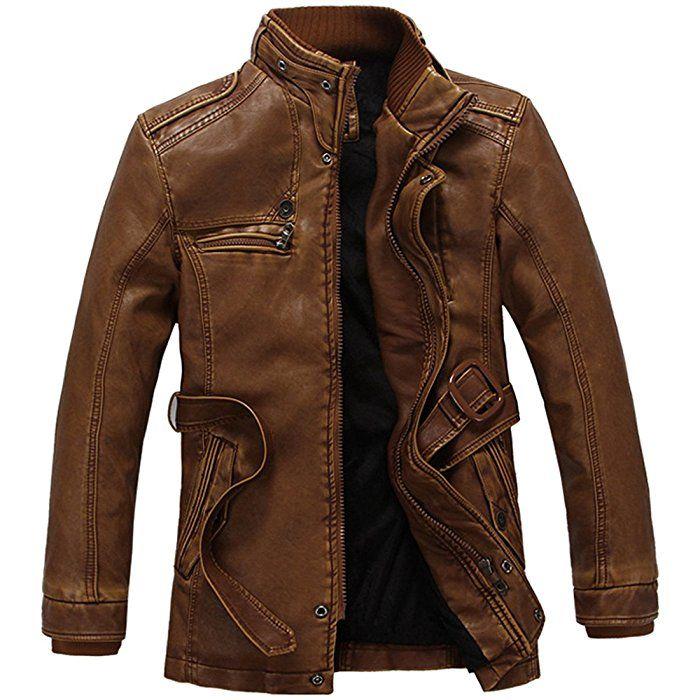 Partiss Herren Leder Vintage Hoherkragen Pu Lining Warme Fur NkX0wP8nOZ