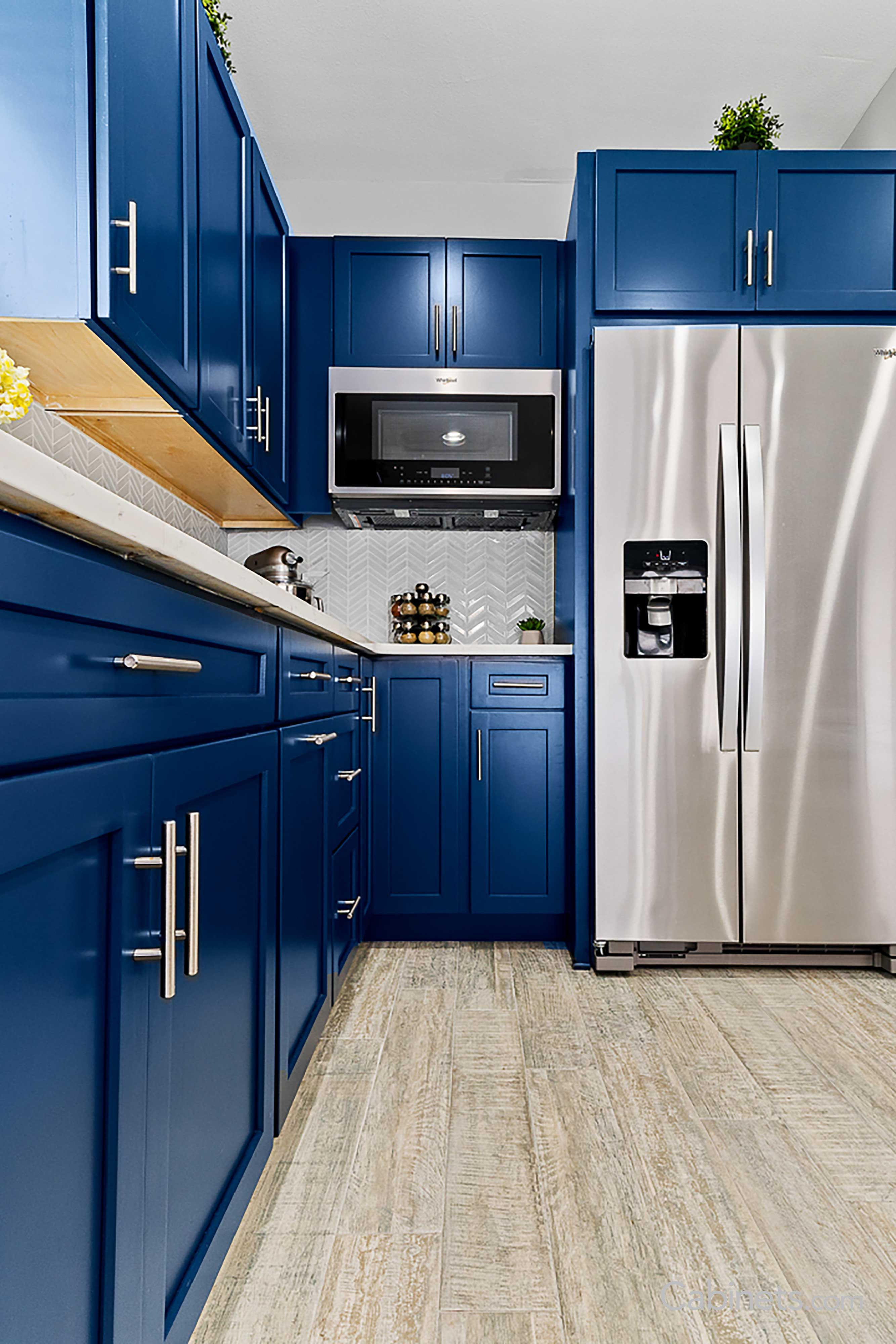 Modern Navy Blue Kitchen with Waterfall Island - Cabinets ...