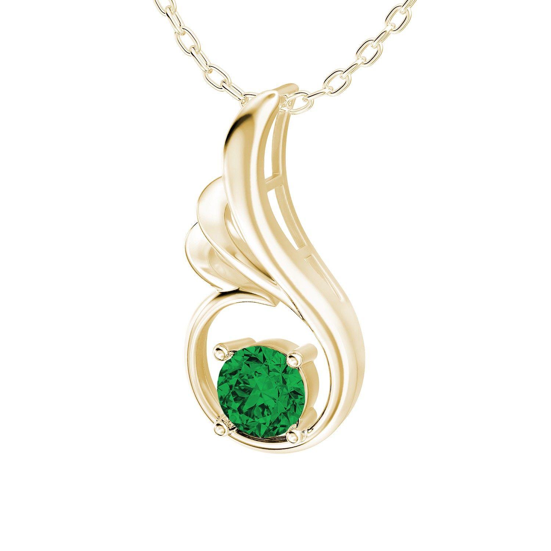 carat round created emerald modern prong set solitaire gemstone