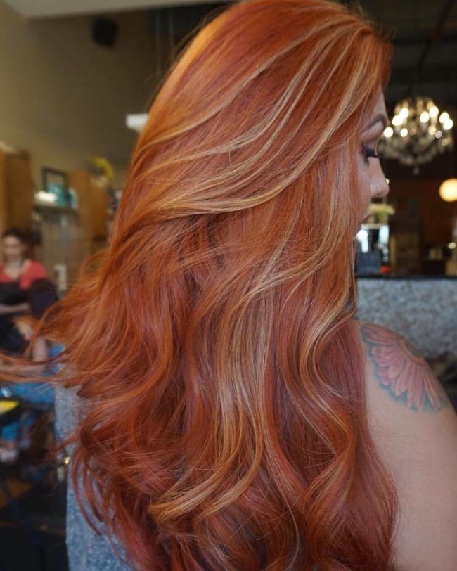 Magical Orange With Partial Blonde Streaks Blonde Hair Color Copper Hair Color Hair Highlights