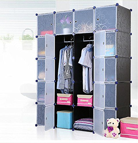 Unicoo - Multi Use DIY 20 Cube Black Organizer Bookcase Storage Cabinet  Wardrobe Closet Regular Cube Black with White Clear Door (Panel Size:  Single Panel: ...