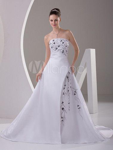 vestido de novia satinado sin tirantes con encajes de estilo rococó
