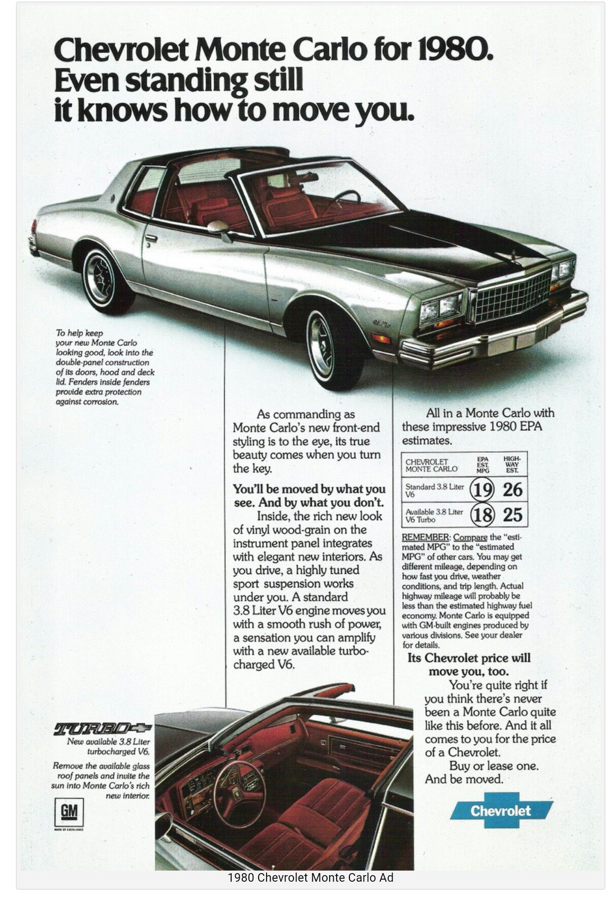 1980 Chevrolet Monte Carlo Turbo Car Advertising Chevrolet