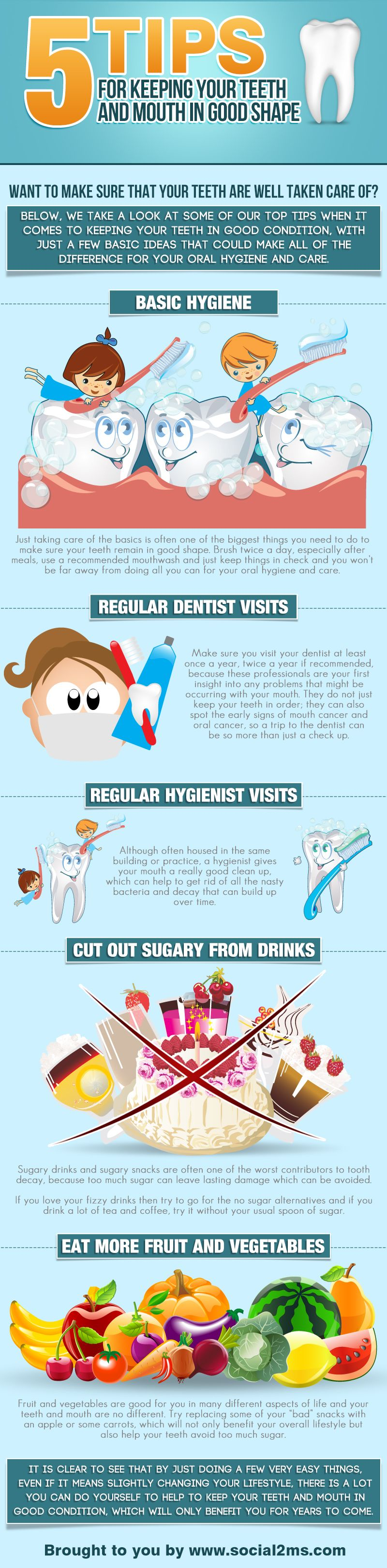 5 Tips for keeping your teeth and mouth in good shape.