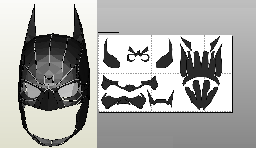 Papercraft .pdo file template for Batman Arkham Origins mask ...